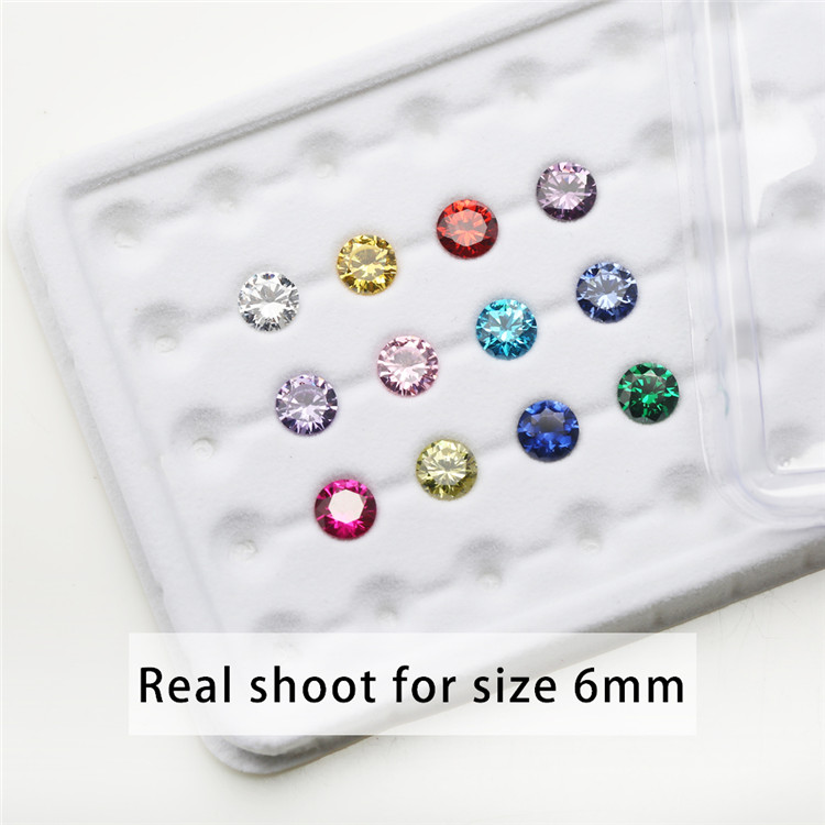 12pcs Color CZ 1pcs Per Colors 4mm~10mm Birthday Stone Loose Round Cubic Zirconia CZ Synthetic Corundum5# Spinel113#