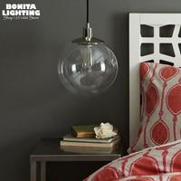 clear glass pendant lamp modern round ball transparent led hanging lamp Edison round bubble sphere cord pendant light Loft