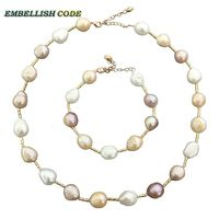 Summer Semi Baroque Irregular Necklace Bracelet Set Pearl And Circular Tube Mixed Color White Pink Purple
