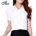 Coreano Senhora Carreira Formal Chiffon Plus Size S-3XL Mulheres Desgaste Do Escritório de Negócios Listrado Casuais Blusas Brancas