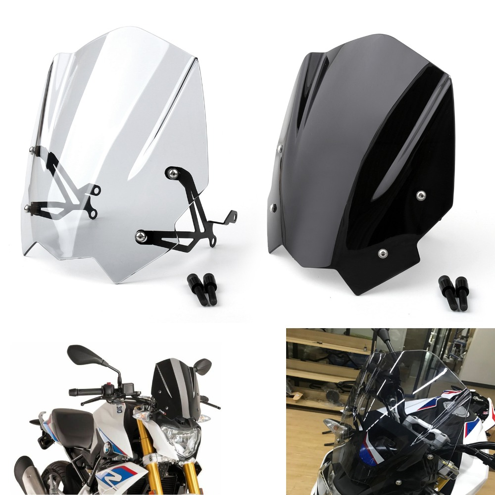 Areyourshop Motorcycle Windshield Windscreen For BMW G310R 2017-2018 ABS Plastic Black Clear 1 Set Motorcycle Accessories Covers for bmw g310r 2017 on motorcycle windshield windscreen with mounting bracket high quality abs plastic