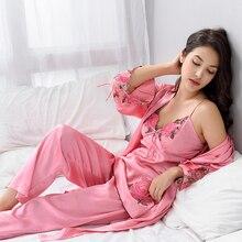 Xifenni Pajama Sets Female Sexy Satin Silk Sleepwear Women Long-Sleeve  Pyjamas Pants Set Embroidery Faux Nightwear X8304