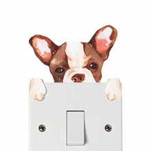 Frenchy Cartoon Dog Color Light Switch Wall Sticker For Kids Rooms Waterproof Removable Topper Wall Art Decals Home Decoration frenchy yummy 1160164