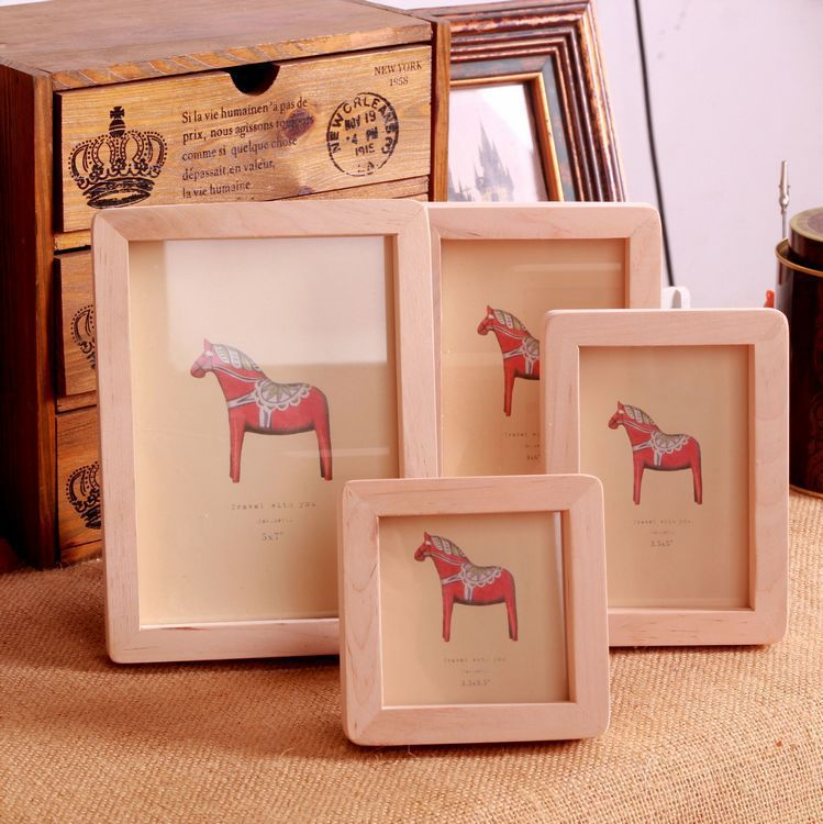 Free Shipping 4pc Lot Mixed Size Wooden Photo Frame Nature