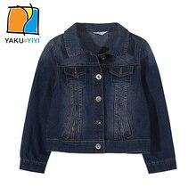 YAKUYIYI 2017 Marque Nouveau Printemps Vintage Solide Bleu Poches Denim Filles Veste Casual Unique Poitrine Manteaux Enfants Vêtements