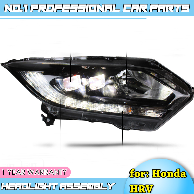 Car Styling-For <font><b>honda</b></font> <font><b>HRV</b></font> <font><b>headlights</b></font> For VEZEL <font><b>HRV</b></font> LED head lamp Angel eye led DRL front light Bi-Xenon Lens xenon HID image