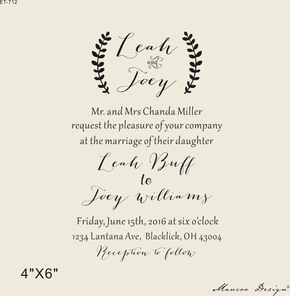 4 X 6 Custom Rubber Stamp Diy Wedding Card Wedding Invitation