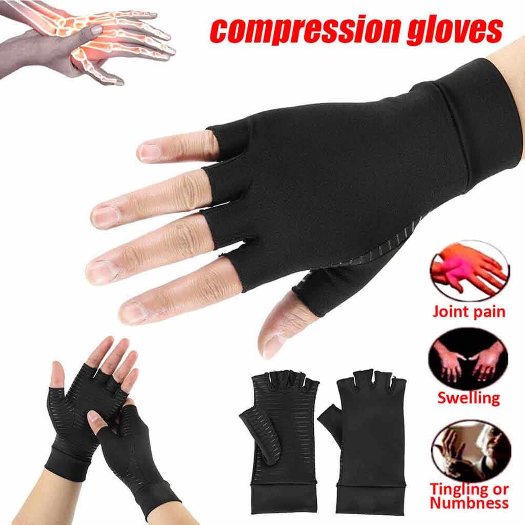 Медные компрессионные перчатки при артрите в помещении спортивные медные волокна забота о здоровье половина пальцев перчатки подходят карпальный туннель боль в суставах