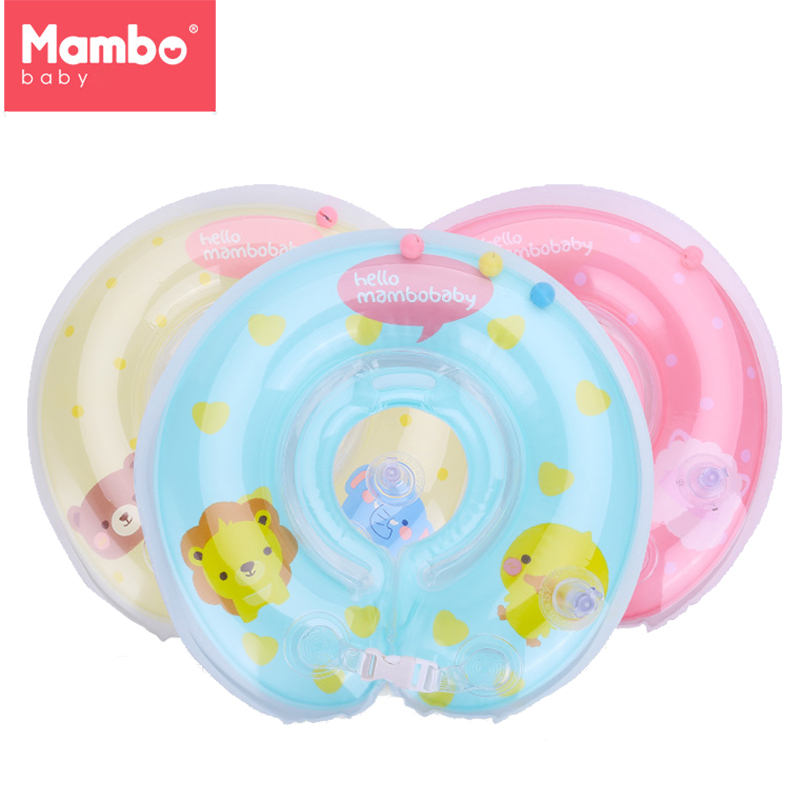 Baby Swim Tube Ring Inflatable Neck Float Circle for Bathing Infant Swimming Neck Ring with Pump Cartoon Swim Pool Accessories