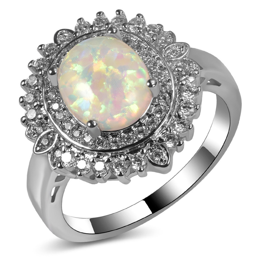 White Fire Opal 925 Sterling Silver Engagement Wedding Ring Size 5 6 7 8 9 10