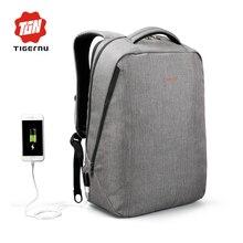 """2017 Nuevo Diseño Tigernu marca hombres mochila antirrobo Externo puerto de carga USB para 14 """"17"""" morral del ordenador portátil morral de la escuela bolsa"""