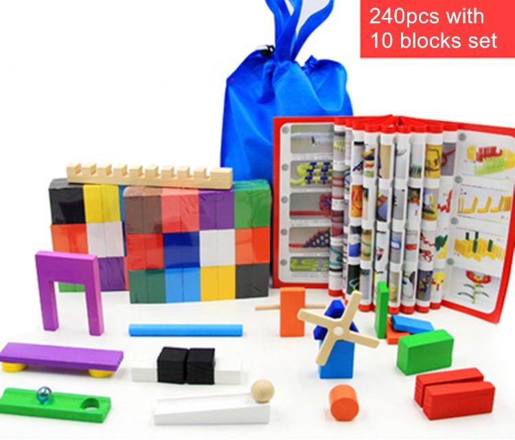 Смесь цветов домино деревянные игрушки кубики безопасная, из дерева игрушки для детей интеллектуальная игра взрослых Игрушка антистресс Семья игры Новинка подарки - Цвет: 240pcs 10 blocks set