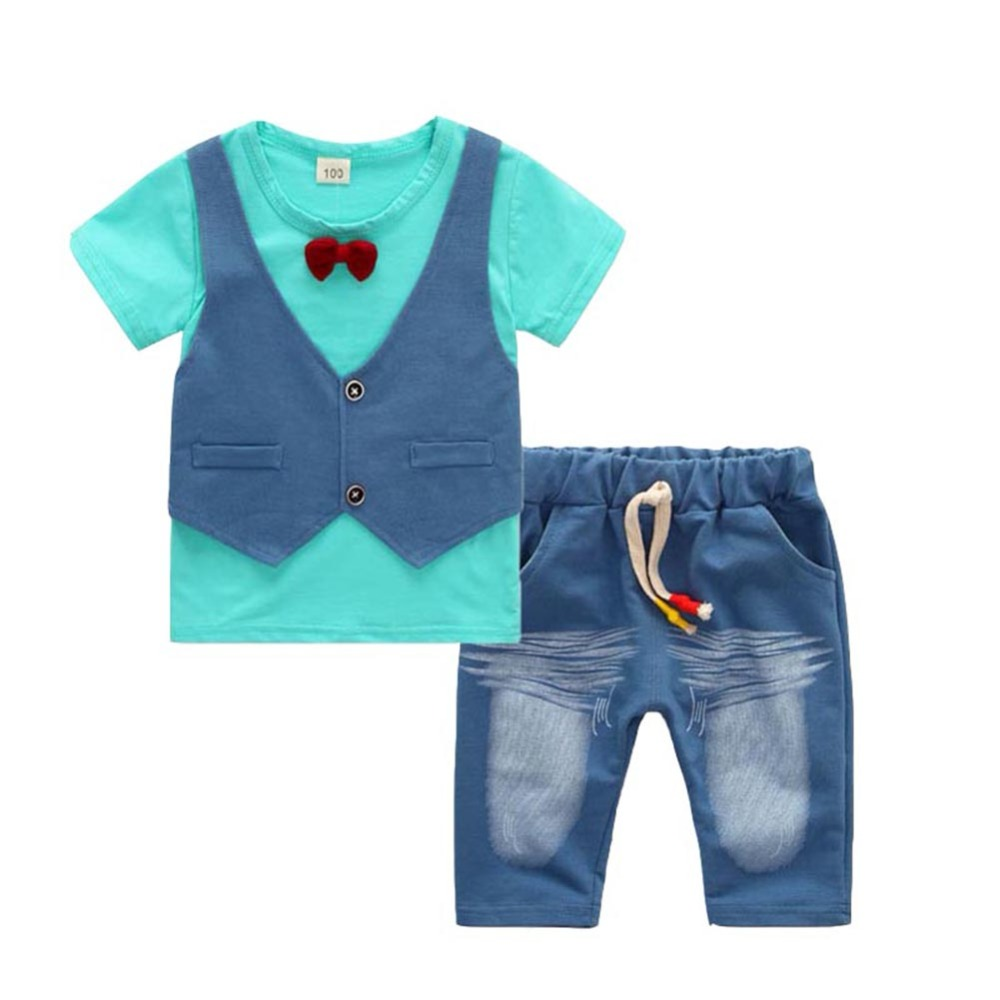 Summer Children Clothing Baby Boy Clothing Set Newborn Infant Clothing Short Sleeve Gentleman T-shirt+Pant Baby Boy Clothes summer 2017 newborn baby boy clothes short sleeve cotton t shirt tops geometric pant 2pcs outfit toddler baby girl clothing set