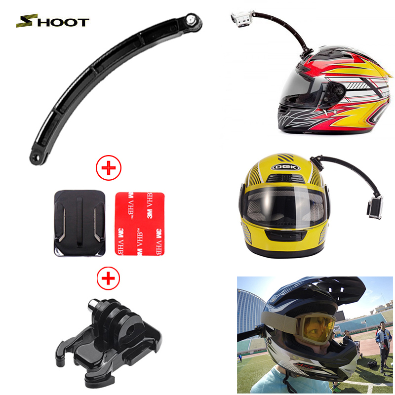 Action Camera Accessories Helmet Extension Arm Kit Self Photo+Curved Adhesive Mount For Gopro Hero 4 3 Xiaomi Yi SJCAM SJ4000