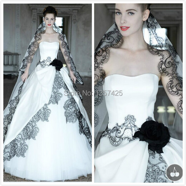 New Fashion Black And White Lace Sweetheart Ball Gown Wedding Bridal