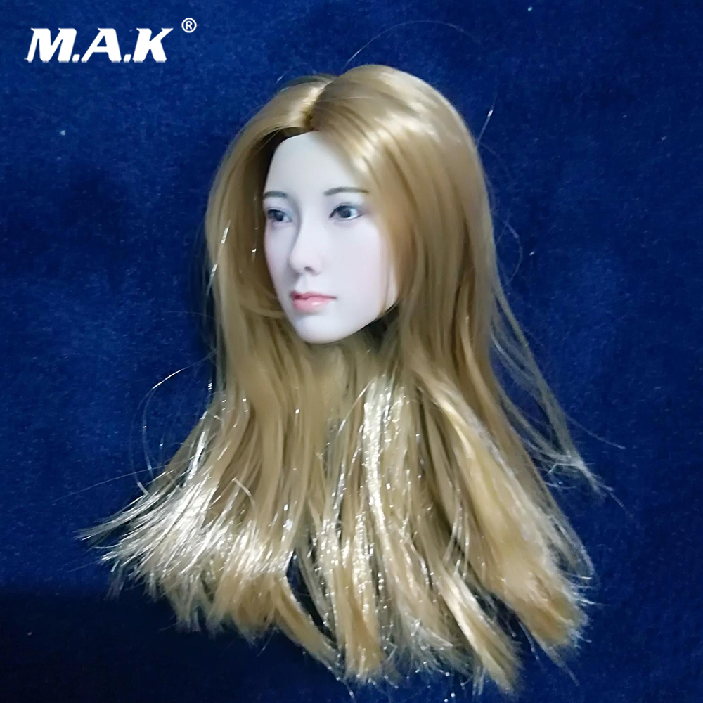 12 Female Figure Custom Head Sculpt 1/6 Scale Asian Lady Girl Gold Hair Model For 12 Action Figure Doll Toys12 Female Figure Custom Head Sculpt 1/6 Scale Asian Lady Girl Gold Hair Model For 12 Action Figure Doll Toys