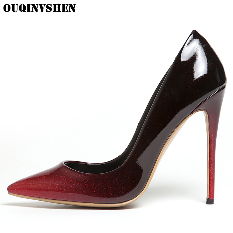 OUQINVSHEN Elegant Shallow High Heels Pumps Pointed Toe Thin heels Single Shoes Ladies Girl Pumps New Casual Fashion Women Pumps ouqinvshen pointed toe high heels bling shallow women pumps new thin heels single shoes casual fashion stiletto heel high heels