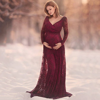 Pregnant Photo Dress Lace Maternity Photography Props Long Dress Long Sleeve Maternity Photo Shoot Gown Floor Length Mama Dress