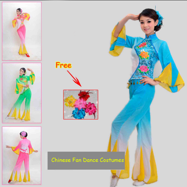 New Discount Ancient Traditional Fan Dance Younger Chinese Folk Dance Costumes Women Chinese Fan Dance Costumes