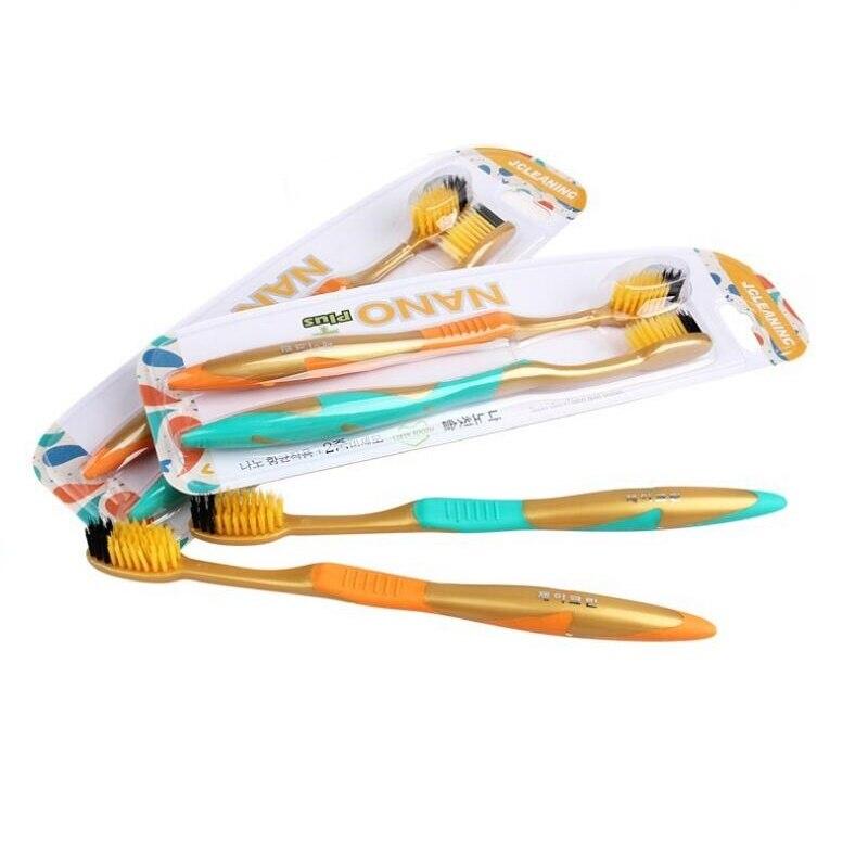 В Корейском стиле 2 шт./упак. золота нано+ темно-серый Зубная щётка для взрослых зубная щетка для антибактериальные нано Сверхтонкий Мягкий волос пара Зубная щётка
