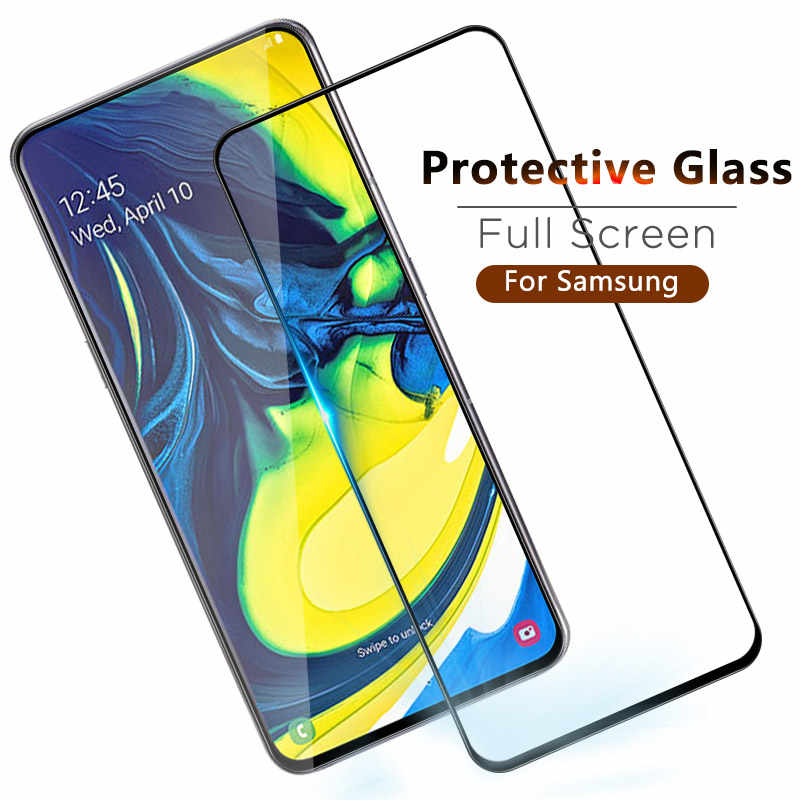 3D Full Cover Glass For Samsung Galaxy A90 A80 A70 A60 A40 A50 A40 A30 Screen Tempered Glass Case For Samsung Galaxy M30 M20 M10