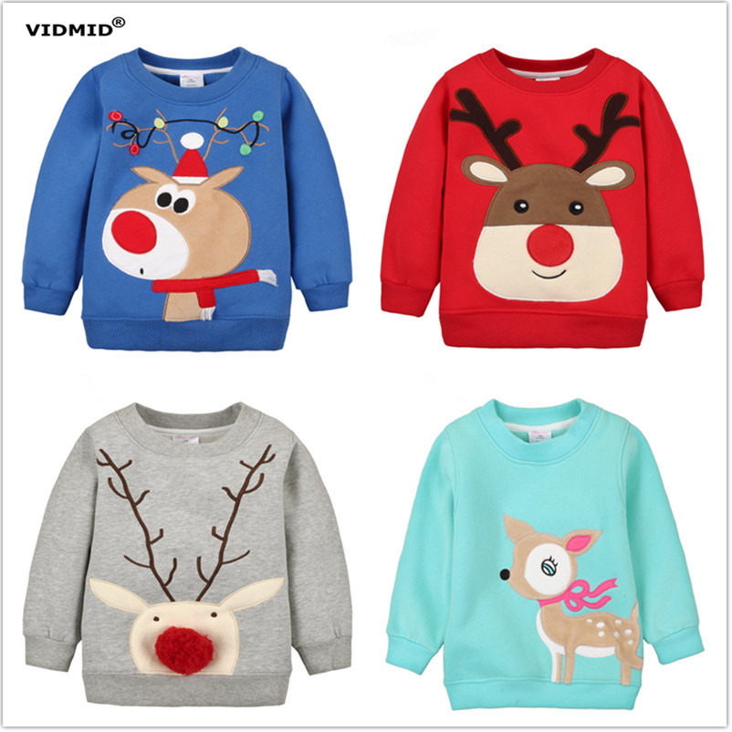 цена на 1-5Y Children Hoodies Girls Red Christmas Reindeer fleece thick Hoodie Boy Baby Thick Sweatshirts Kid's Cartoon Sweater 1014 03