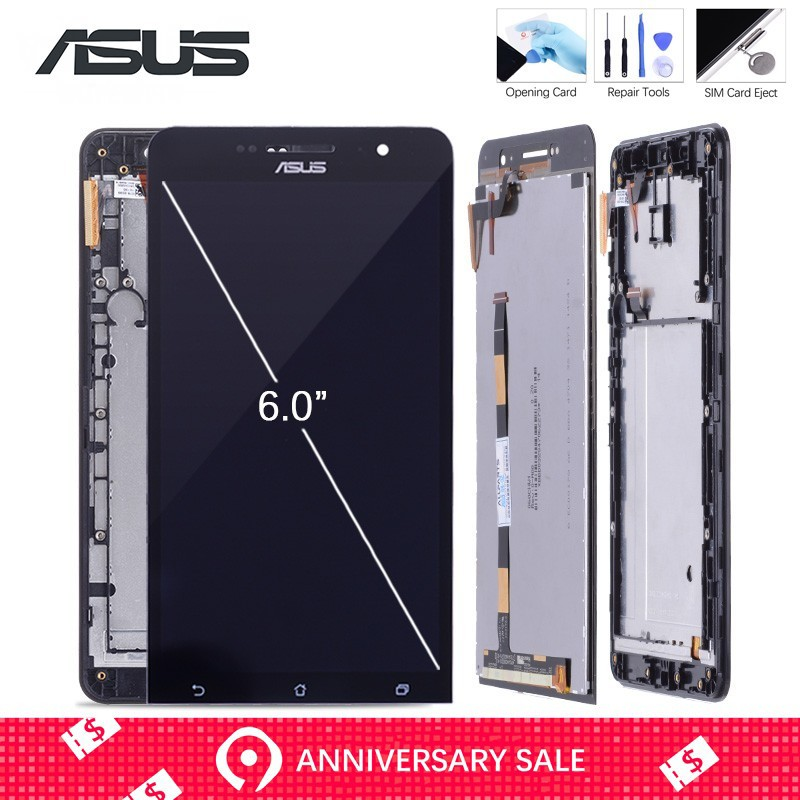 Original Display For ASUS Zenfone 6 LCD Display Panel Touch Screen Digitizer Sensor Glass Assembly For A600CG A601CG Replacement