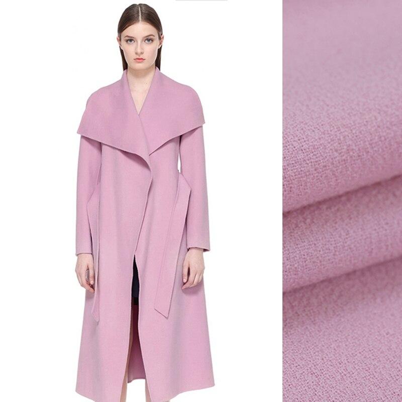 140 см шириной 470 г/м Вес светло фиолетовый двусторонний шерсть креп Ткань для весны и осени рубашка куртка костюм de480