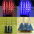 Novo Colorido de 4*4*4 3D LightSquared Branco Blue & Red Ray LED 3D LED Cube Kit DIY
