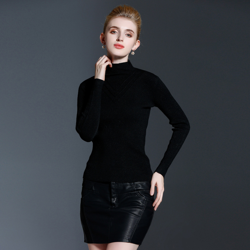 Woman Winnter Sweater Turtleneck Collar Pullover Knitting Cashmere Elastic Sweater Top Slim Shirt Multicolors Sweaters Knitwear