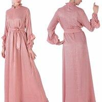 Pleuche Slim Long Style Muslim Cloth Middle Eastern Islamic Muslim With Belt Solid Dress Ladies Casual Elegant Vestidos Dress