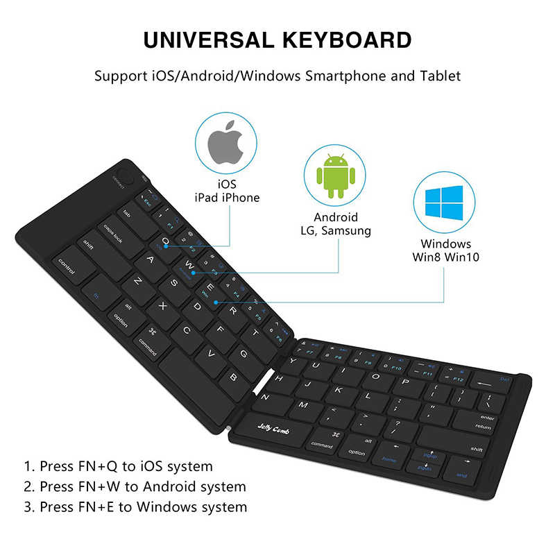 Jelly Comb Foldable Bluetooth Keyboard 3 0 Ultra Slim Folding Mini  Rechargeable Keyboard for iPad Android Mac OS Laptop Tablet