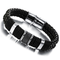 Handmade Genuine Leather Weaved Double Layer Man Bracelets Casual Sporty Bicycle Motorcycle Delicate Cool Men Jewelry