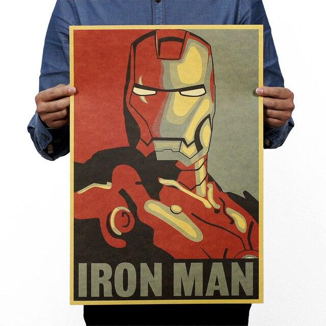 Marvel héroe hierro hombre Vintage Kraft papel clásico película cartel Escuela Decoración pared arte Oficina escuela DIY Retro impresiones