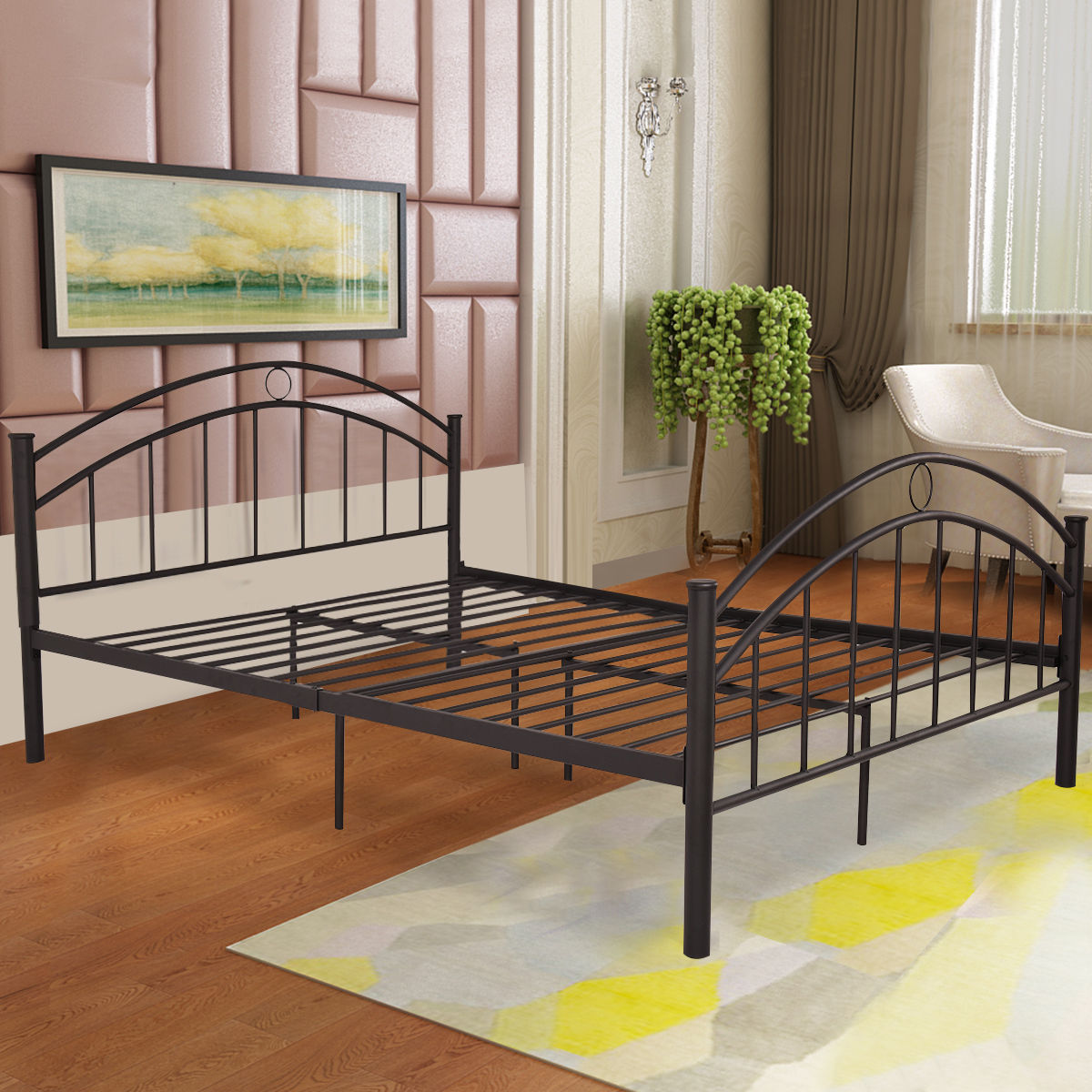 Giantex Black Queen Size Metal Steel Bed Frame Mattress Platform with Headboard Modern Bedroom Furniture HW53980+ canton queen full grey fabric headboard
