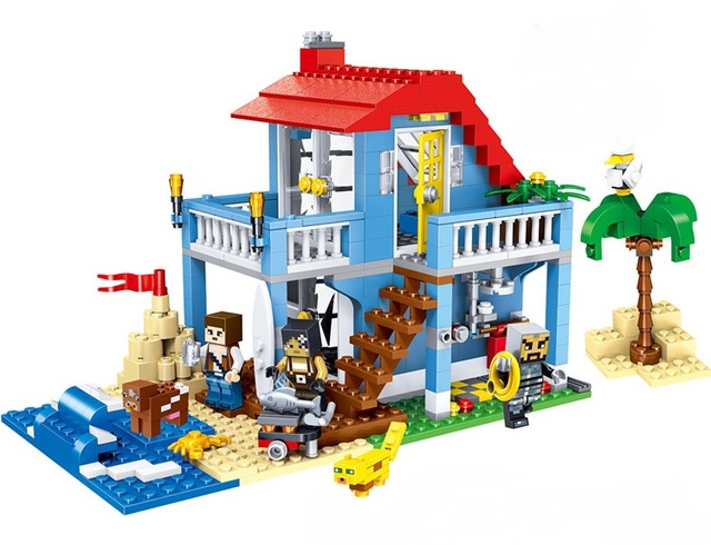 children toy CHINA BRAND self-locking bricks Compatible with Lego 3in1  Seaside House 7346