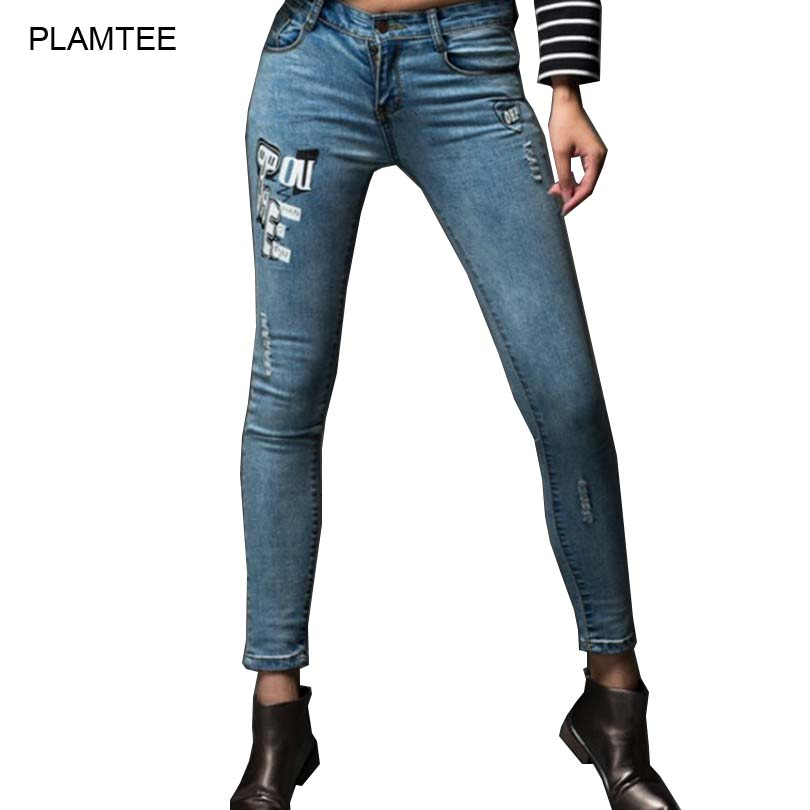 PLAMTEE 2017 Boyfriend Pattern Ripped Jeans Feminino Skinny Stretch Pants Slim Thin Tight Pencil Pants Plus Size Jeans Women