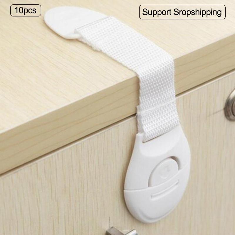 10pcs/lot Baby Cabinet Safety Locks Lengthen Drawer Door Cupboard Strap Kids Safety Locks Plastic Children Protection Strap Lock