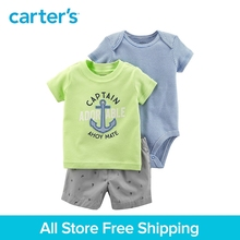 Carter s 3 Piece baby children kids clothing Boy Summer Captain Striped Little Short Set 121I409