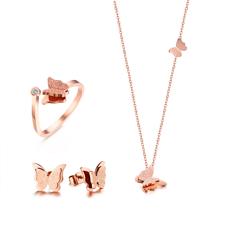 <font><b>Women</b></font> <font><b>Jewelry</b></font> <font><b>Set</b></font> Butterfly Necklace Ring Earrings Rose Gold Zircon Charm Matte Finished Female Gifts image
