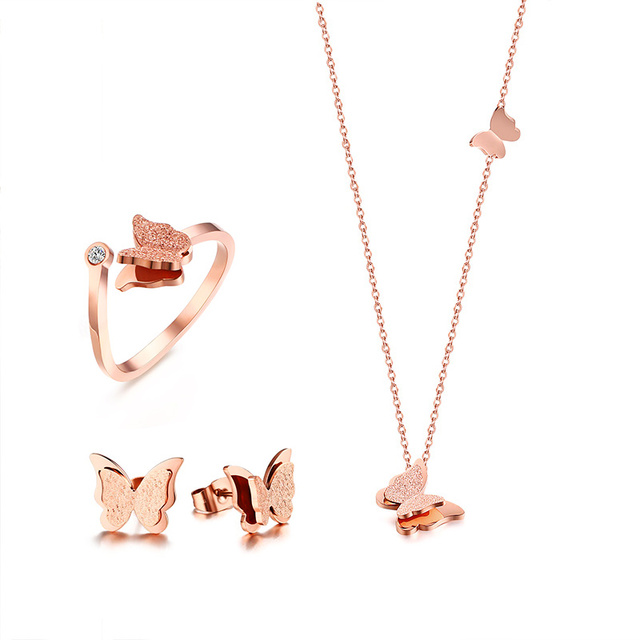 Women Jewelry Set Butterfly Necklace Ring Earrings Rose Gold Zircon Charm Matte Finished Female Gifts