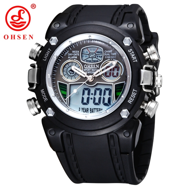 2017 OHSEN Military Army LCD Dual Core Quartz Watch Mens Sport Date Day Stopwatch Backlight Black Rubber Band Wristwatch Watches