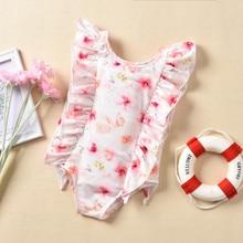 Детский купальный костюм для мальчика для новорожденной девочки, купальники с принтами цветов бикини пляжный купальник