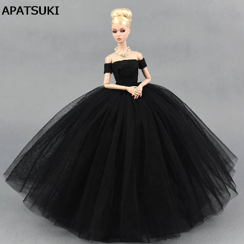 Black Little Dress Wedding Dress for Barbie Doll Princess Evening Party Clothes Wears Long Dresses Clothes for Barbie Doll doll wedding dress 100% handmade warm red luxury crystal bride wedding doll big trailing evening gown for barbie doll