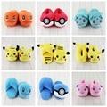 14 Estilo Mew Pikachu Pokeball Bulbasaur Charmander Zapatillas de Invierno de Interior Zapatillas de Felpa Zapatos Unisex Zapatillas de Casa Caliente