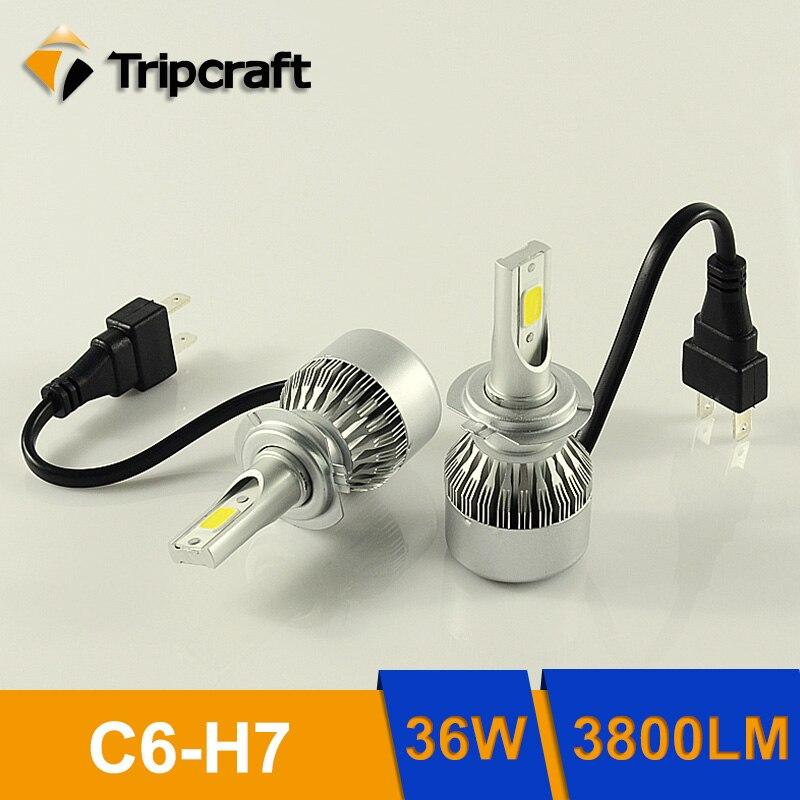 Tripcraft 2PCS 36W H7/Single Beam Car headlamp 6000K cree chips Car Bulbs 3800/7600LM auto front Fog Lamp automobile headlight