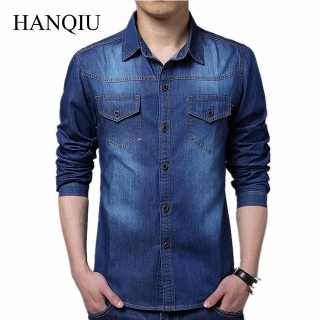 b715eeb164 Más tamaño hombres Denim Camisas 5XL algodón Slim Fit bolsillos Camiseta  Masculina 2018 de manga larga