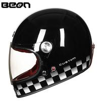 BEON Helmet Full Glass Fiber Motocross Helmet Vintage Motorcycle Professional Helmets Retro Ultralight ECE Headgear B 510