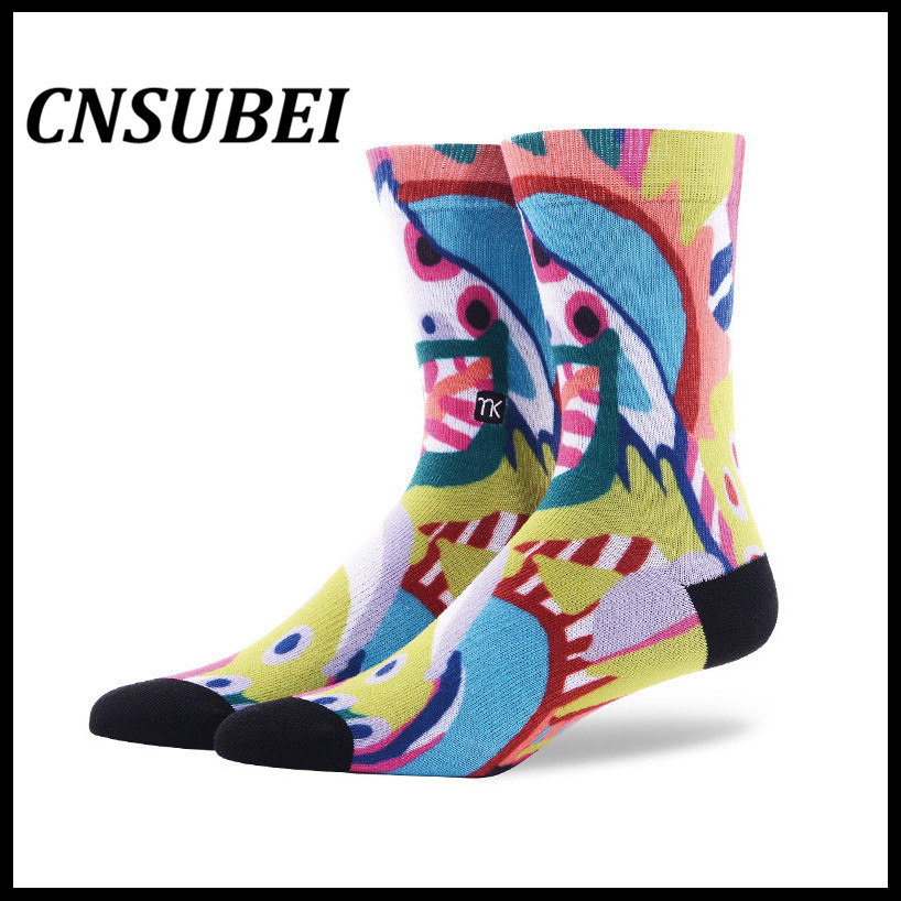 Calf 360 colorful pic print arch support man sublimation print crew basketball sport socks