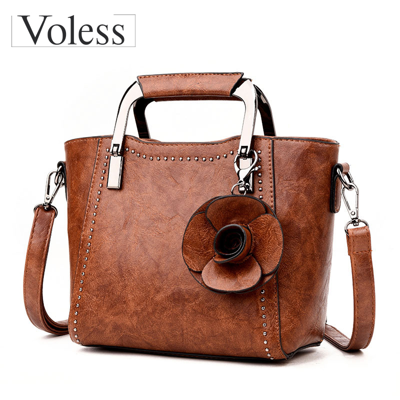 VOLESS Luxury Designer Flower Crossbody Bags For Women Leather Handbags Fashion Female Tote Bag Women Messenger Bags Sac A Main